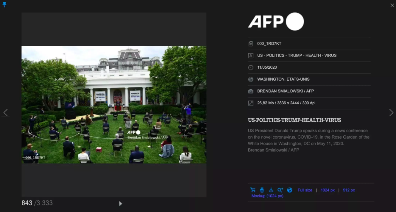 Screengrab of the photo visible on the AFP image library, taken for AFP by Brendan Smialowski on May 11, 2020.
