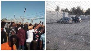 Images sent by our Observers. On the left, a crowd of residents of the camp watch a protest calling for their freedom. On the right, the barbed wire encircling the camp.