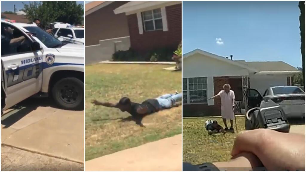 Captures d'écran de deux vidéos montrant la scène sous des angles différents : à gauche, la scène vue par les témoins ; à droite, par la police.