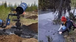 Ekaterina Diachkova filmed the damage caused by an oil spill near the Kolva River and posted her footage to social media in an attempt to raise awareness.