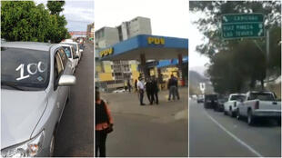 Left, a photo by Enrique Rondon Nieto in San Antonio de los Altos (Miranda) on May 28. The image in the centre is a screengrab of a video filmed by Robert Lobo in Caracas on May 20. Right, a screengrab of a video taken by Ray Alvarado in Caracas on May 25.