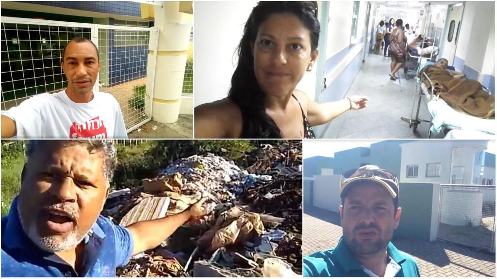 """Plusieurs internautes brésiliens ont répondu à la campagne de TV Globo en filmant le Brésil """"dont ils ne veulent pas"""". Captures d'écran / Facebook."""