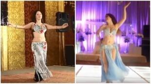 """De gauche à droite, la danseuse argentine Magdalena, et puis l'américaine Diana Esposito, connue sous le nom de scène """"Luna"""", en train de se produire sur scène au Caire."""