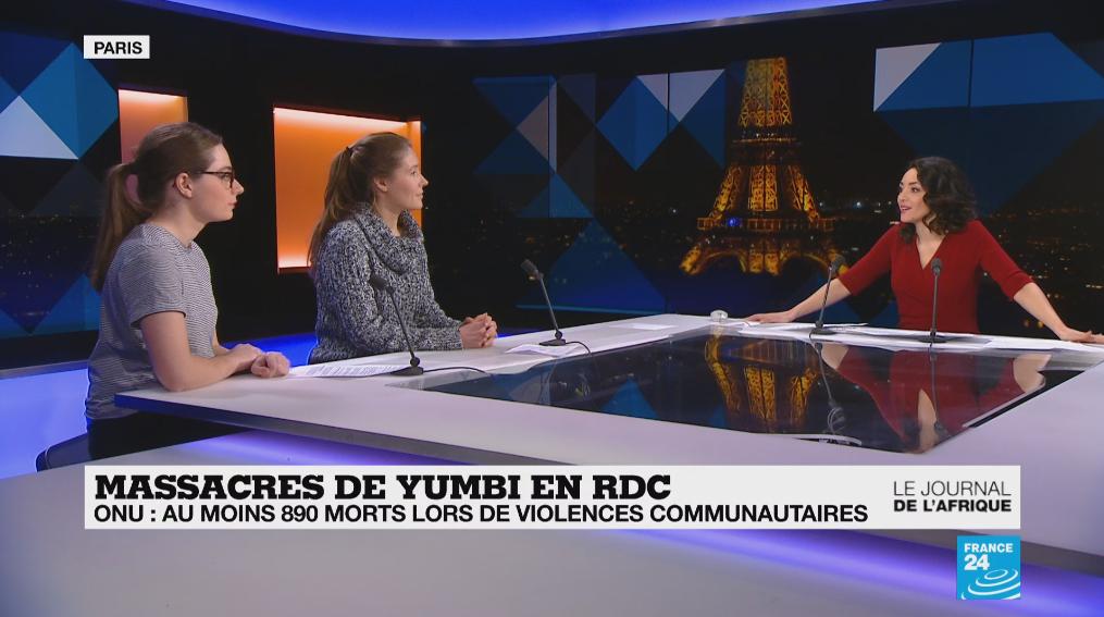 Le Journal de l'Afrique de France 24 du 21 janvier 2019, avec nos journalistes Liselotte Mas (gauche) et Chloé Lauvergnier (centre), ainsi que Meriem Amellal (droite).