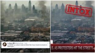 """Ce montage est censé prouver que la chaîne américaine MSNBC a diffusé des images du film """"World War Z"""" pour illustrer les manifestations à Philadelphie. En réalité, la chaîne n'a jamais diffusé cette image. (Photo : Twitter)"""