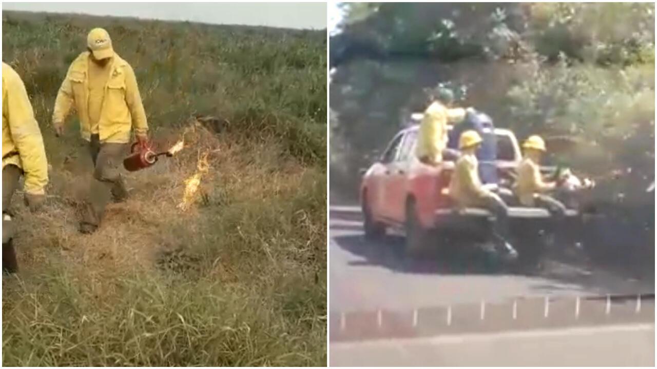 """En septembre et en juin, ces images ont été publiées sur les réseaux sociaux pour accuser des incendies les """"brigadistes"""" mobilisées contre les incendies en Amazonie et dans le Pantanal. Captures d'écran / réseaux sociaux."""