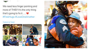 On the left, a tweet calling for more kindness during the George Floyd protests. On the right, one of the images from that same tweet - photo by Johnny Nguyen.