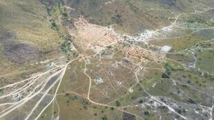 This aerial photo shows miners illegally operating in the indigenous territory of Raposa Serra do Sol, Brazil, in March 2021.