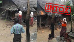 Des photos données par les autorités birmanes aux journalistes, prétendant montrer des Rohingyas brûlant leur propre maison.