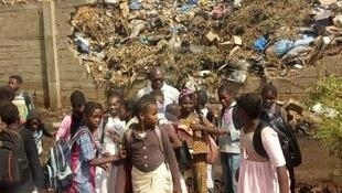 These students attend a school near the massive landfill in the Medina Coura neighbourhood.