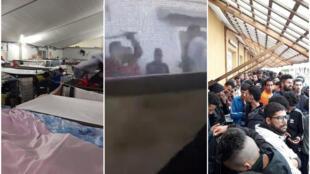 De gauche à droite : les dortoirs surpeuplés du CETI de Melilla, en pleine pandémie de Covid-19 / Un migrant se fait agresser par un agent du centre / Les longues queues pour la nourriture, sans mesures sanitaires. Images envoyées par notre Observateur.