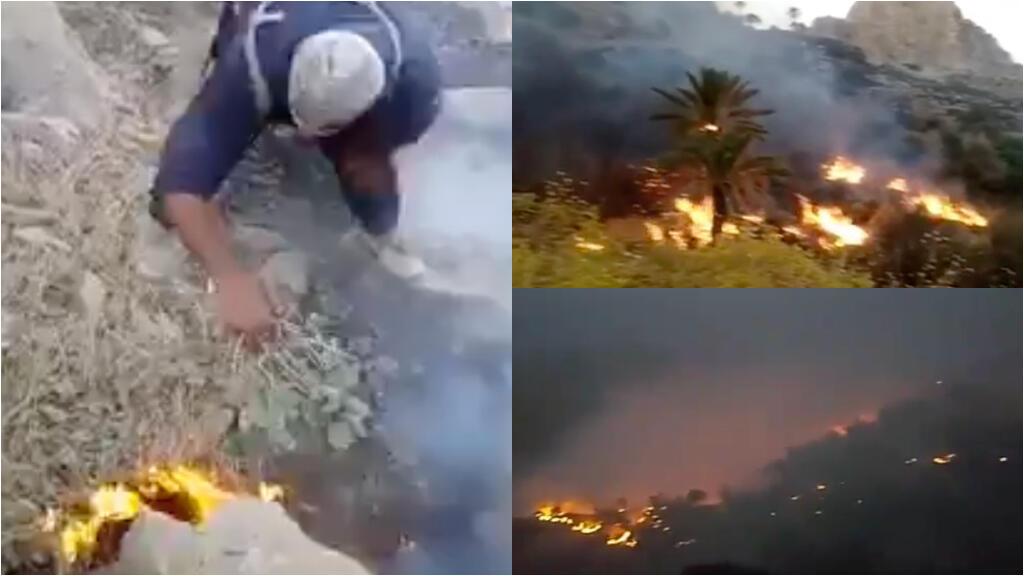 Des bénévoles iraniens tentent d'éteindre un incendie, parfois seulement à l'aide de quelques branches d'arbres. Captures d'écran des vidéos de notre Observateur dans la région protégée de Khaiez.