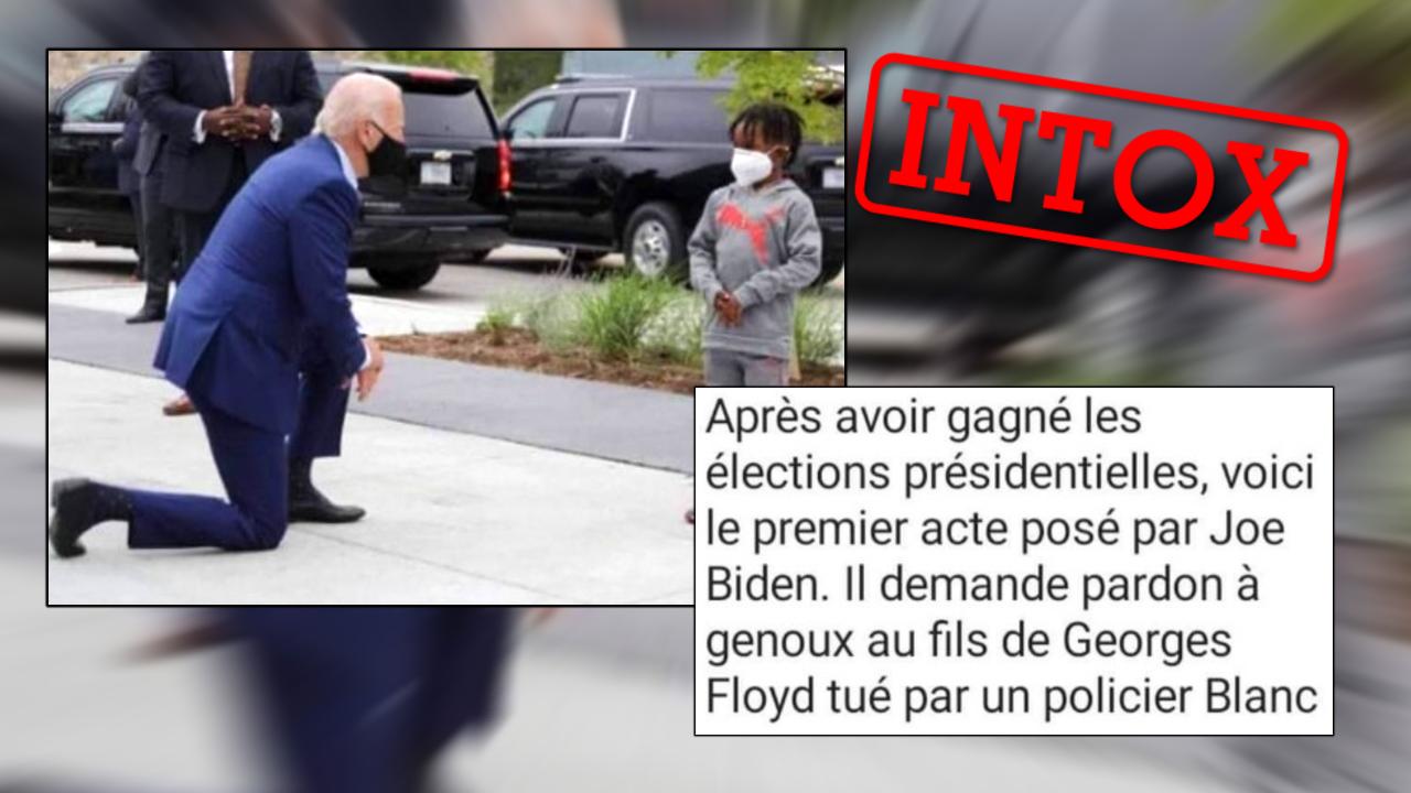 Joe Biden à genoux devant le fils de George Floyd? C'est ce qu'ont affirmé des internautes. Mais c'est faux.