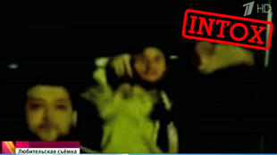 Capture d'écran d'une des vidéos présentées par la chaine russe Perviy Kanal comme étant prise en marge d'affaires de viol récents en Allemagne.