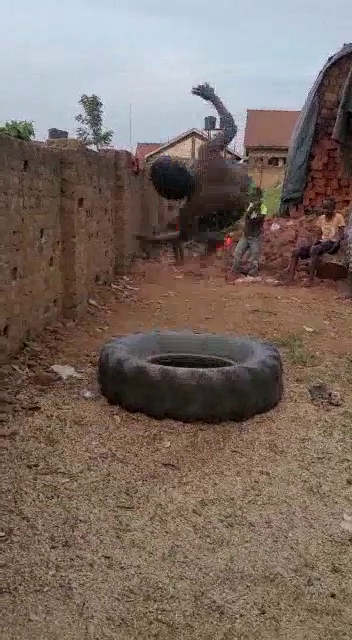 Yiga Mustafa and his team have gotten creative, using things like tyres in place of proper equipment. Video provided to the Observers.