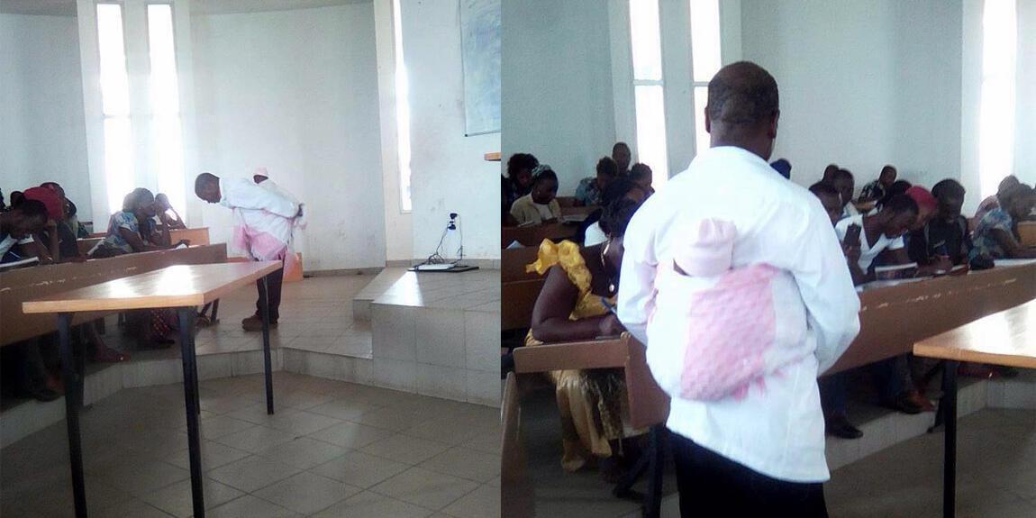 Un professeur de l'université de Bouaké a fait le buzz sur les réseaux sociaux en portant un bébé dans son dos lors d'un cours.