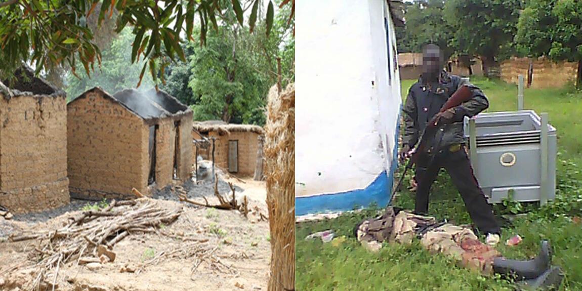 À gauche, des maisons à Ngaoundaye brûlées après le passage de miliciens de l'ex-Seleka le 15 juin. À droite, un milicien anti-balaka vient d'abattre un ex-Séléka le 11 juin à Ngaoundaye. Photo Benedykt Benedykt Pączka.