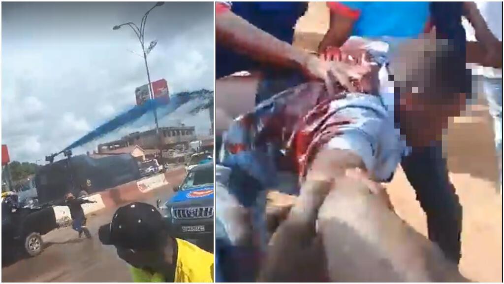 À gauche, un canon asperge d'eau colorée les manifestants; à droite, un manifestant blessé par balle et transporté par un groupe de jeunes. Capture d'écran de vidéos publiées sur Facebook et Twitter.