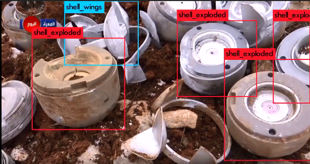 Image archived on Syrian Archive, showing cluster bombs in Maarat Al Numan in northern Syria after a bombing in August 2017.