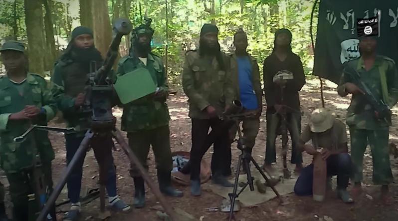 Capture d'écran d'une vidéo montrant des combattants en RDC et au Mozambique prêtant allégeance à Abou Bakr al-Baghdadi. Elle a été mise en ligne le 24 juillet 2019.