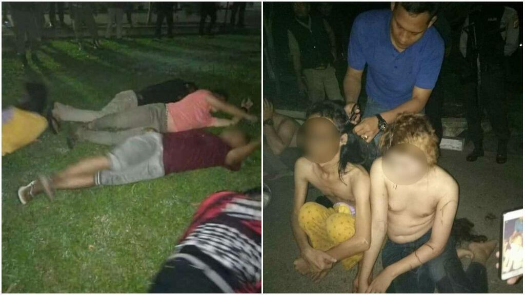 متحولون جنسيا في إقليم آسيه تقص شعرهم ثم تجبرن على التمدد على الأرض. صور نشرتها شرطة آسيه.
