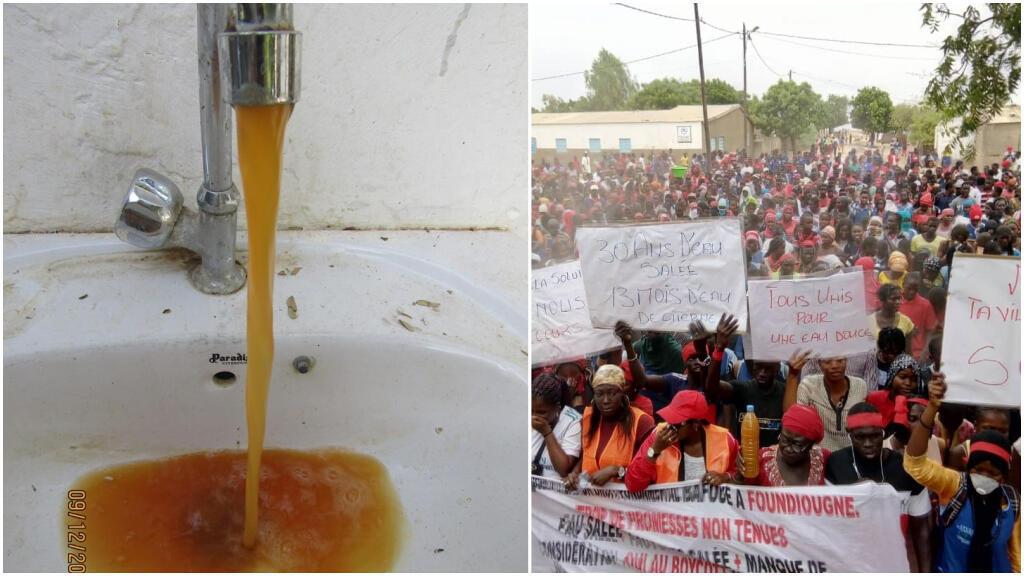 À gauche, un robinet déverse de l'eau orange, le 9 décembre à Foundiougne et, à droite, les habitants de cette ville manifestent contre les problèmes d'accès à l'eau potable, le 15 décembre. Photos transmises par nos Observateurs.