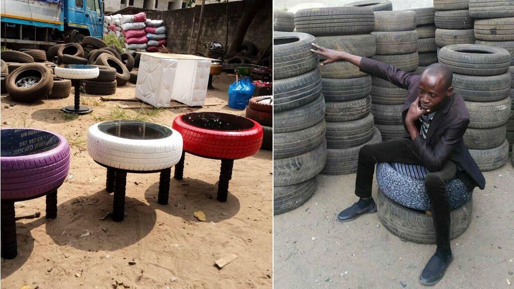 Basétégé Kamagaté dans son atelier, situé dans la commune de Yopougon à Abidjan.