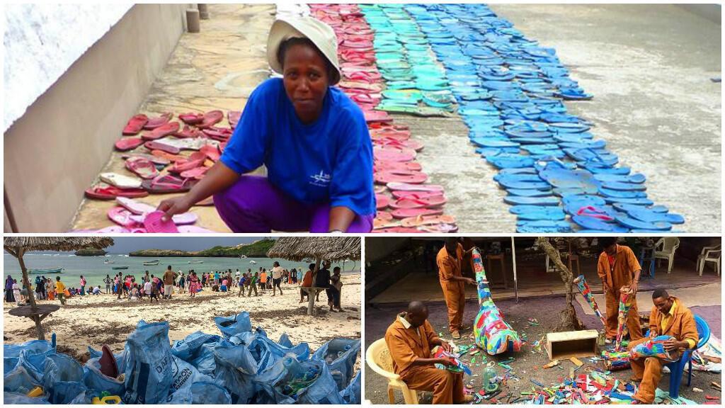 Les tongs sont collectées sur les plages par des associations puis vendues à Ocean Sole qui les transforme en objets d'art ou en jouets.