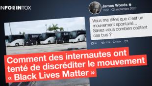 """En utilisant ces images de bus, cet acteur américain a tenté de faire croire que le mouvement """"Black Lives Matter"""" avait financé ses propres moyens de transport."""