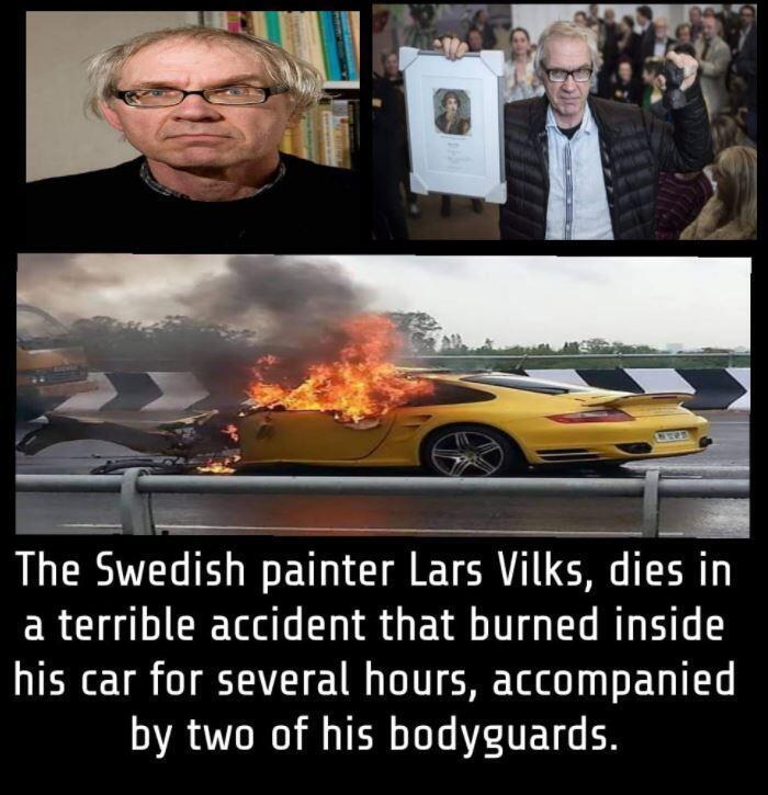 Capture d'écran d'une publication Facebook du 4 octobre associant un accident de voiture avec des photos de Lars Vilks.