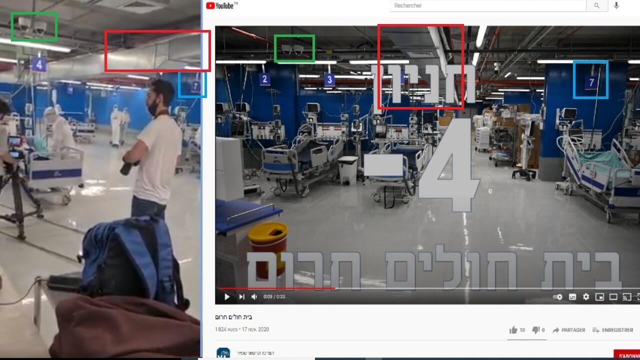 Comparaison de la vidéo prétendant qu'il s'agit d'une mise en scène, et d'une autre vidéo promotionnelle du même lieu.