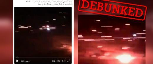 A screengrab from a video posted by an Iranian Twitter user saying it showed American reconnaissance drones being targeted by Iranian anti-aircraft fire. Many web users didn't know it was a joke.
