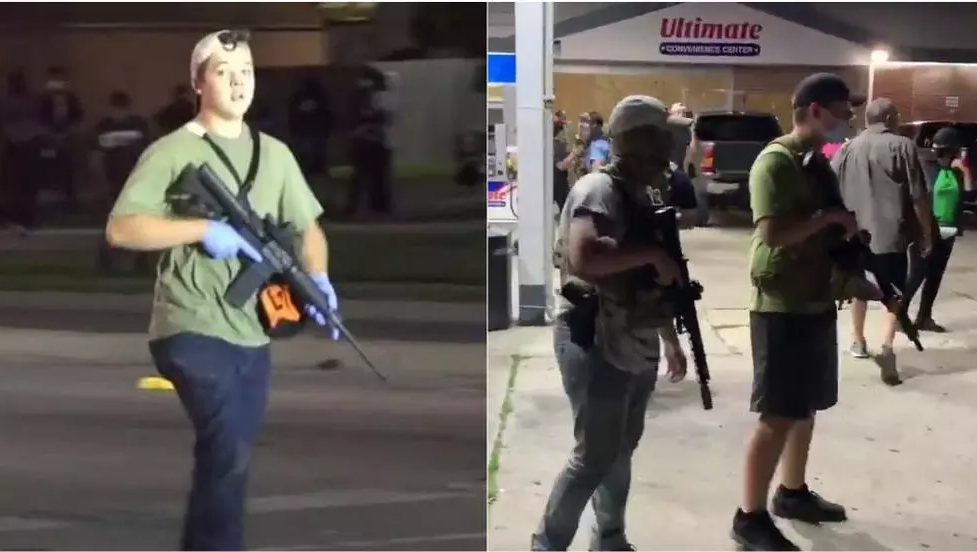 Left: Kyle Rittenhouse has been arrested for shootings during a Kenosha, Wisconsin protest on August 25. Right: Armed civilians protect a petrol station from looting during the third night of protests August 25.