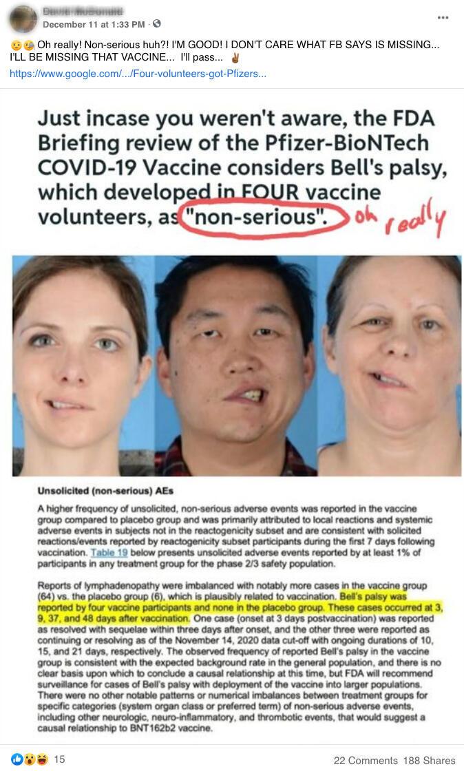Capture d'écran d'une publication datée du 11 décembre sur Facebook.