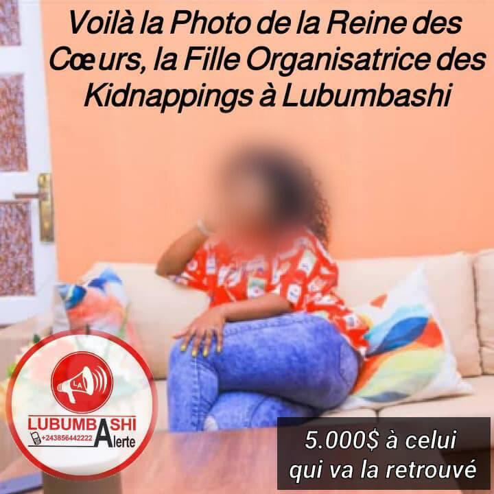 Ce photomontage affirme faussement qu'une dame serait l'organisatrice des kidnappings à Lubumbashi en RD Congo.