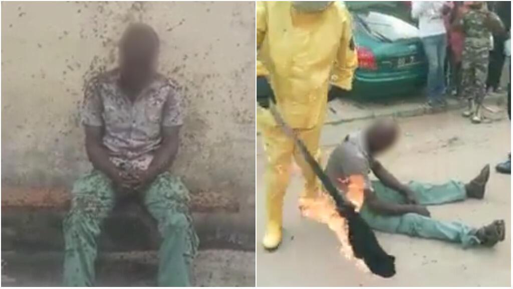 Captures d'écran des vidéos ci-dessous, tournées dans le quartier de la Cité des Palmiers, à Douala, la capitale économique du Cameroun, le 29 novembre.