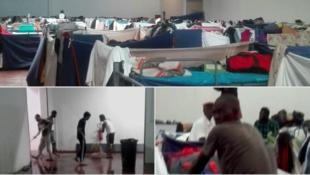 Inondations et promiscuité dans ce centre de migrants du nord de l'Italie.