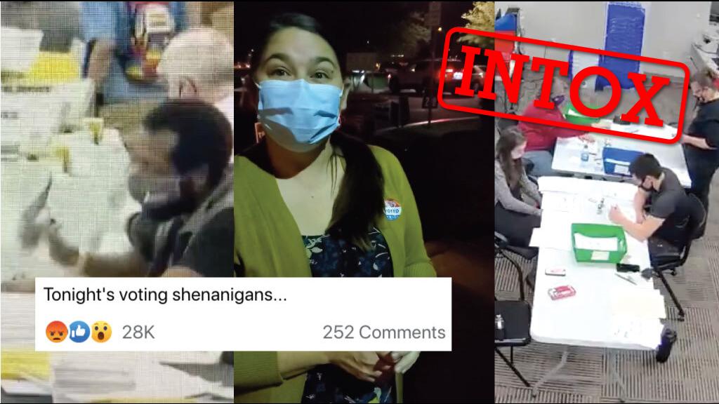 Captures d'écran de trois vidéos massivement partagées sur les réseaux sociaux, prétendant montrer des cas de fraude lors de l'élection présidentielle américaine.