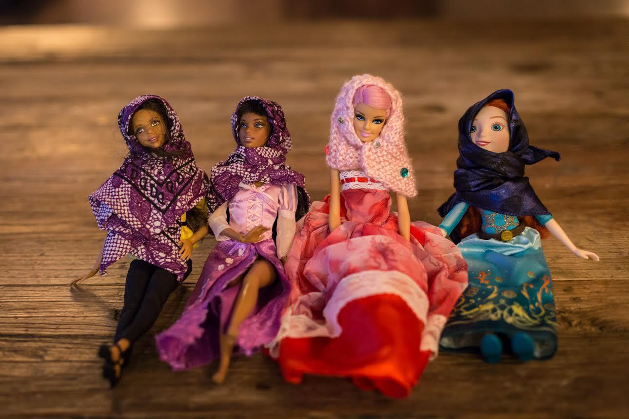 Four dolls wearing hijabs from Hello Hijab. Photo by Maranie Staab.