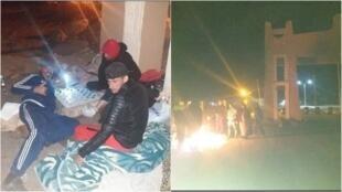 جزائريون بقوا عالقين لمدة شهر ونصف في الجانب الجزائري من معبر الدبداب قبل أن يقضوا فترة الحجر الصحي بعد عبورهم الحدود. صور أرسلها عبدو لونيس.