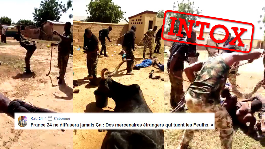 """Une vidéo prétend montrer des """"mercenaires étrangers"""" frapper des Peuls au Mali. Mais plusieurs indices montrent que la vidéo ne vient pas du Mali."""