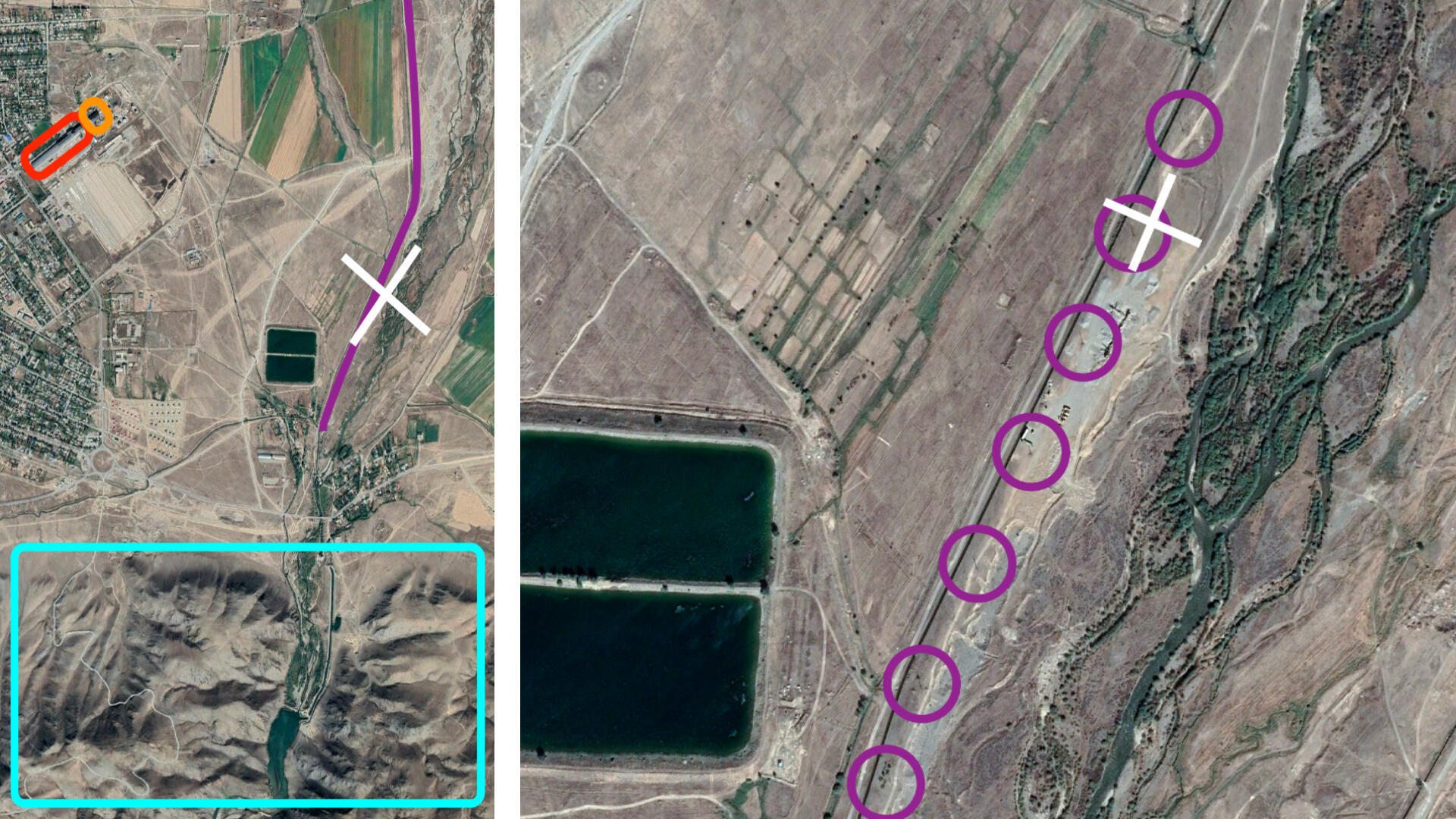 Satellite imagery of Zhansugirov, wide angle (left) and close up (right)