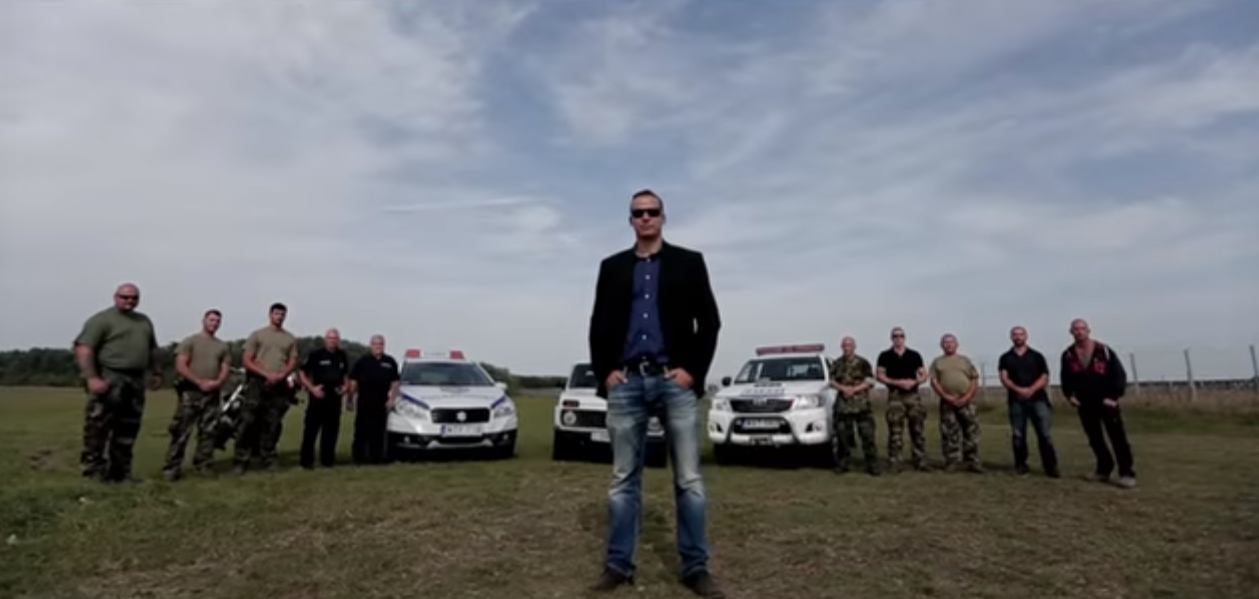 The mayor of Ásotthalom and his militiamen. Screen capture from a video made by the mayor.