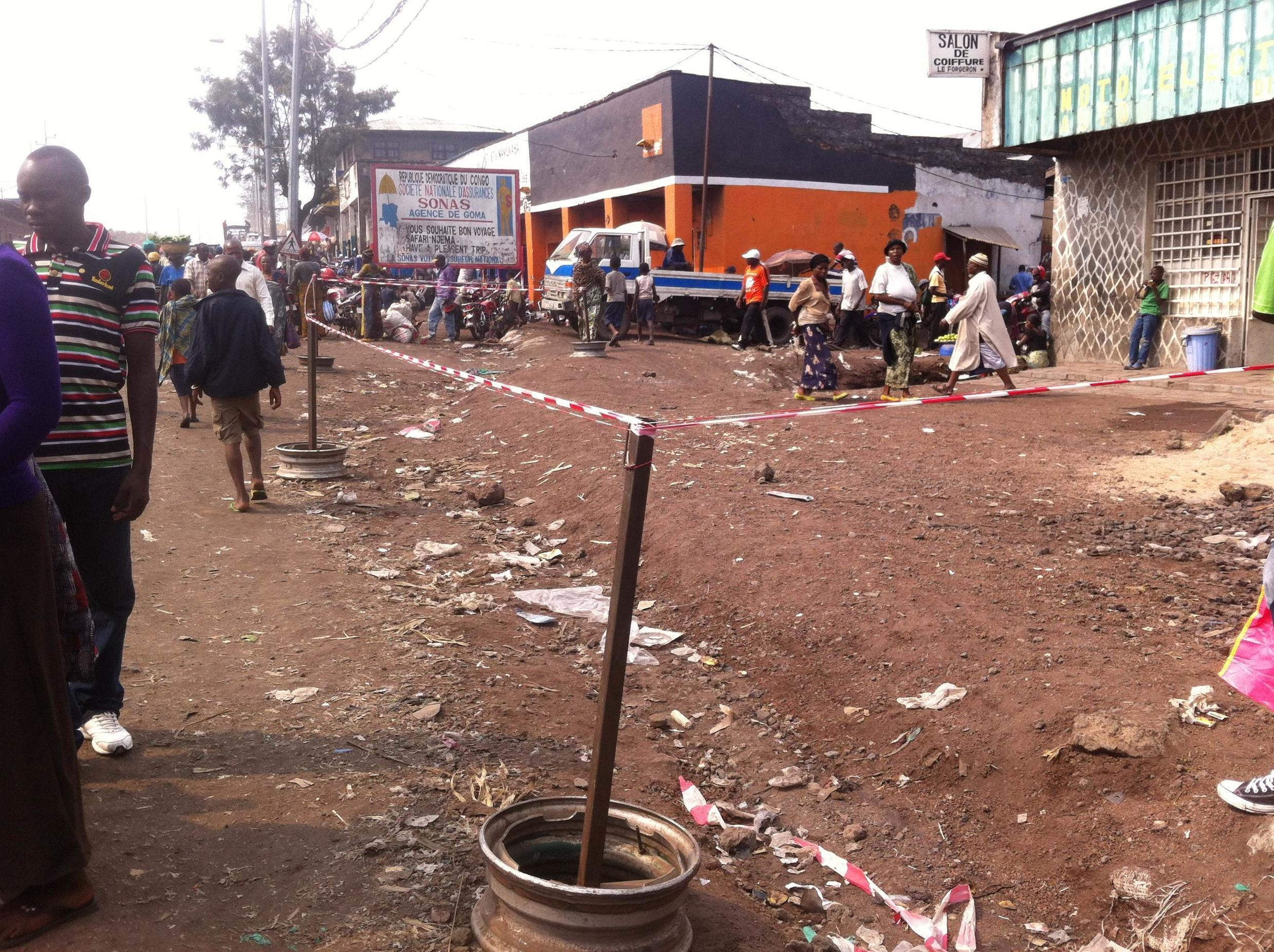 Local vendors were prevented from selling their wares on the main street of Goma during the week on the conference on mining practice. Charly Kasereka/Goma