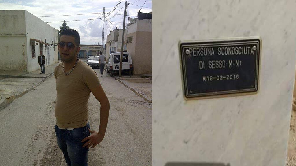 """À gauche, Atef Jebali prenant la pause en octobre 2014, à droite, sa tombe en Italie sur laquelle on peut lire : """"personne inconnue de sexe masculin""""."""