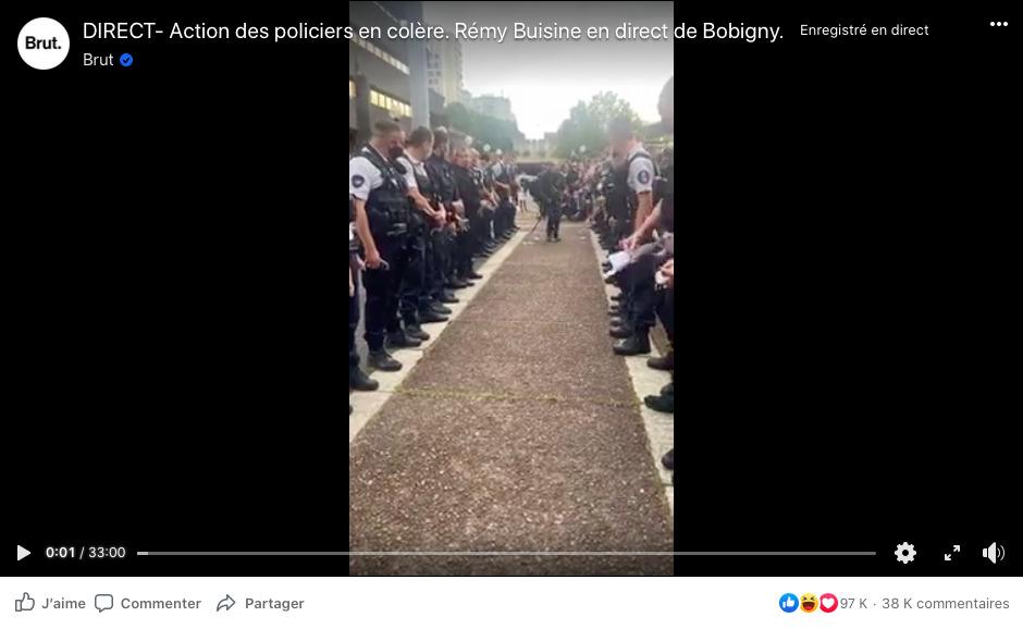 La vidéo originale a été tournée en direct, le 11 juin 2020, par le journaliste de Brut Rémy Buisine.
