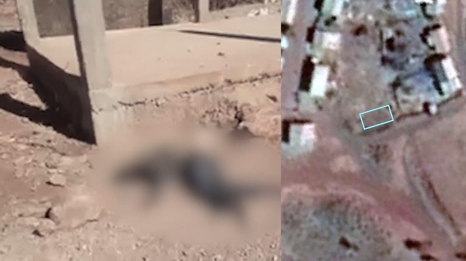 À gauche, une capture d'écran de la vidéo où l'on voit un bâtiment en cours de construction et, à droite, une image satellite de l'endroit datée de 2018 sur laquelle ce bâtiment est absent.