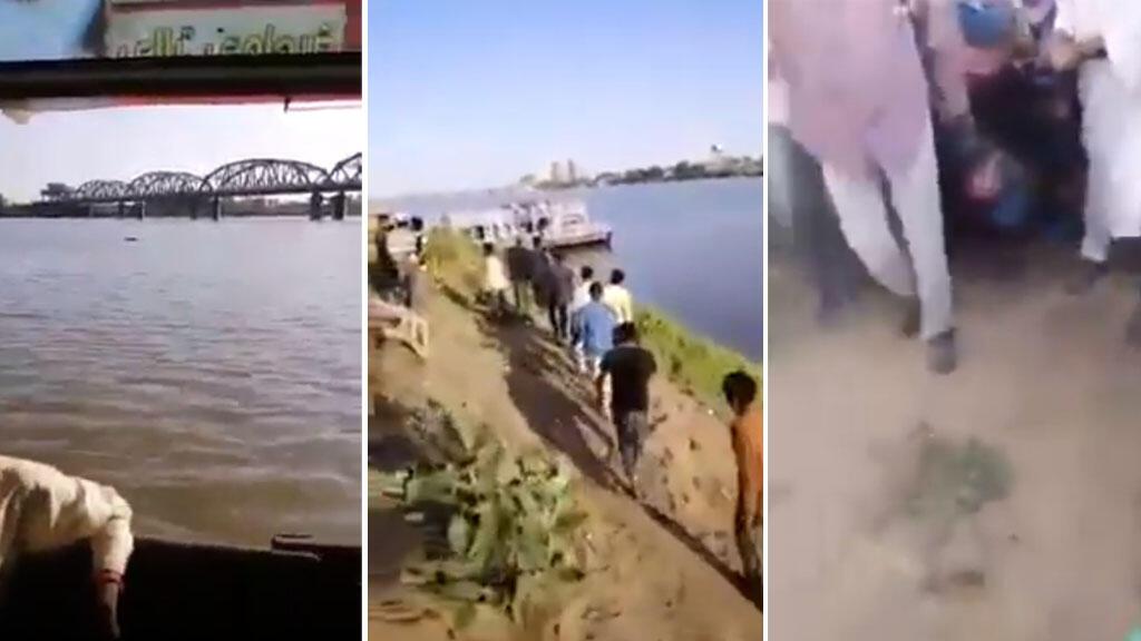 Captures d'écran d'une vidéo transmise par un de nos Observateurs au Soudan, et qui montre les habitants de Khartoum repêcher un cadavre dans le Nil, mardi 4 juin.