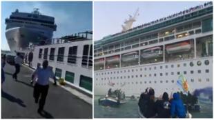 """À gauche, l'accident du 2 juin. À droite, le Comité """"Non aux grands bateaux"""" en action en septembre 2018"""
