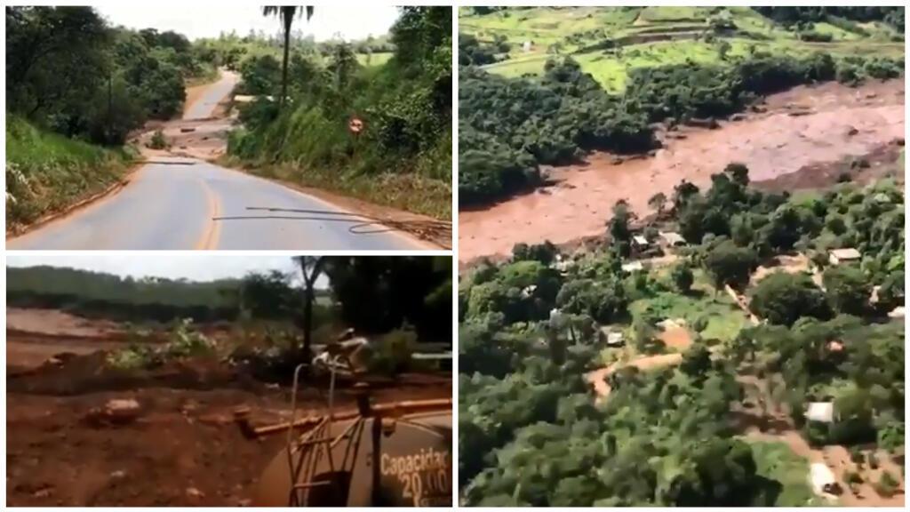 Des images publiées sur les réseaux sociaux après la rupture d'un barrage au Brésil vendredi (à gauche). Images aériennes des pompiers - Bombeiros MG Oficial (à droite).